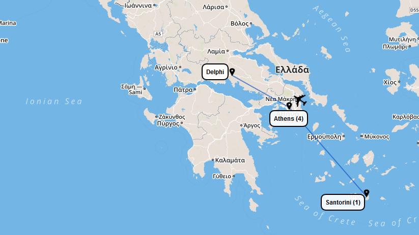 Athens-Santorini-Map