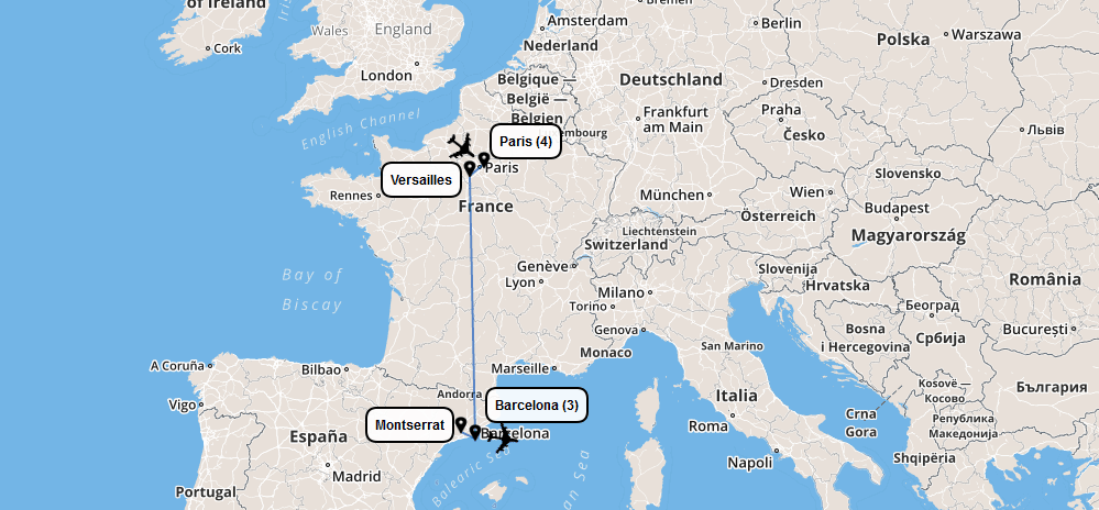 France Spain Prometour Educational Tours - France and spain map